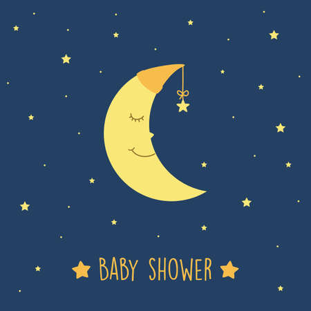 baby shower cute sleeping moon in starry sky vector illustration EPS10