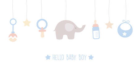 baby boy welcome greeting card for childbirth with hanging utensils vector illustration