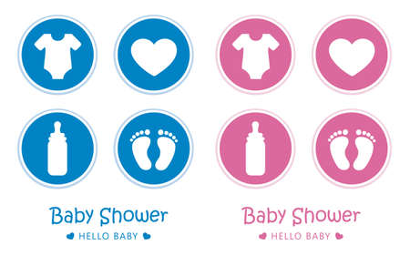 blue and pink set of baby icons feet footprint stroller bear and pacifier vector illustration EPS10