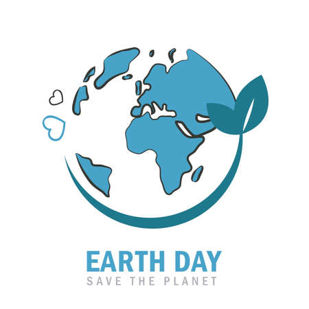 earth day globe environmentalism symbol with green leaves vector illustration