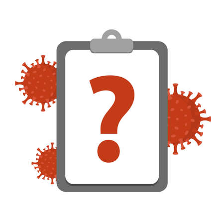 corona virus and question icon on clipboard vector illustration