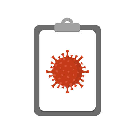 corona virus and clipboard icon vector illustration
