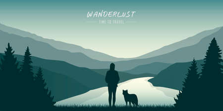 wanderlust girl and dog by the river in green nature vector illustration EPS10