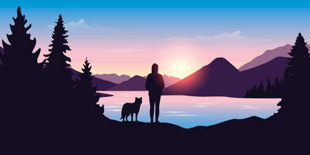wanderlust girl and dog by the river in green nature vector illustration Иллюстрация