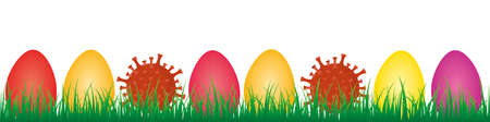 colorful easter eggs and corona virus in green meadow covid easter design banner vector illustration