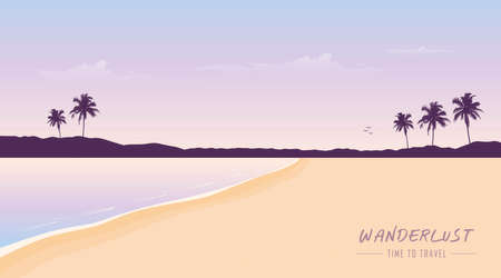 secret paradise beach wanderlust time to travel summer holiday background vector illustration EPS10