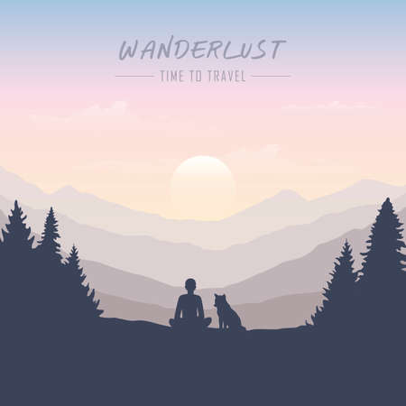 wanderlust man and dog in forest nature landscape vector illustration EPS10