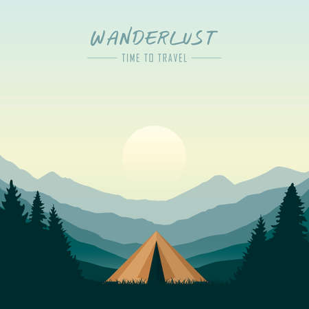 wanderlust camping adventure in the wilderness tent in the forest at mountain landscape vector illustration Иллюстрация