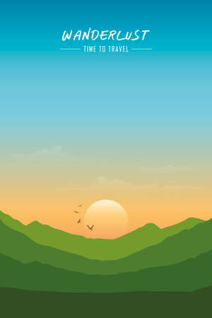 wanderlust wilderness mountain nature landscape vector illustration