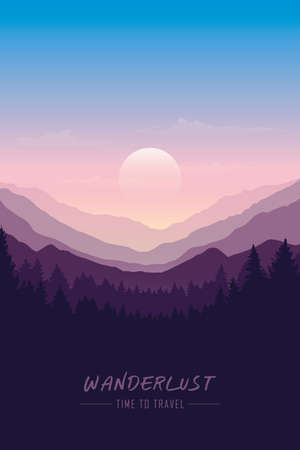 wanderlust wilderness mountain nature landscape vector illustration EPS10