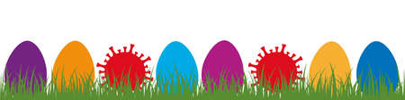 colorful easter eggs and  virus in green meadow  easter design banner vector illustration EPS10 Иллюстрация