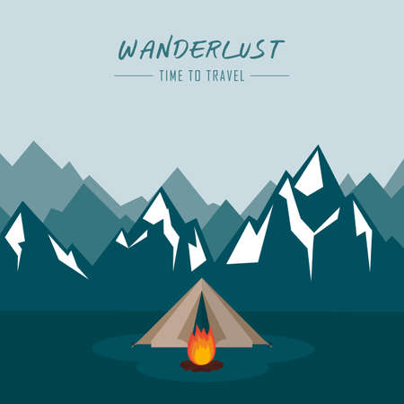 wanderlust camping adventure in the wilderness tent in snowy mountain vector illustration EPS10
