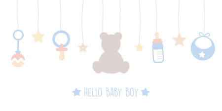 baby boy welcome greeting card for childbirth with hanging utensils vector illustration EPS10 일러스트