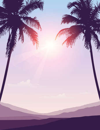 luxury holiday palm tree silhouette background vector illustration EPS10