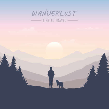 wanderlust girl and dog in forest nature landscape vector illustration EPS10