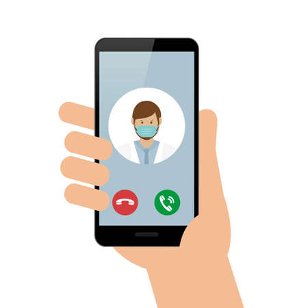 person calling doctor with smartphone cell vector illustration EPS10 Иллюстрация