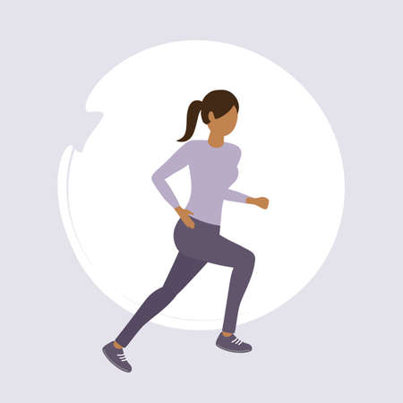 girl exercising by jogging healthy lifestyle fitness design vector illustration EPS10 Иллюстрация