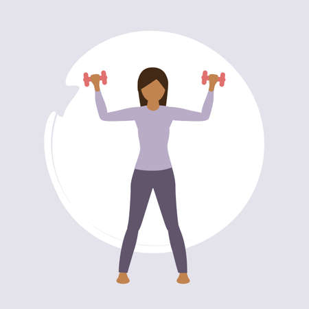 girl doing exercise with barbell healthy lifestyle fitness design vector illustration EPS10