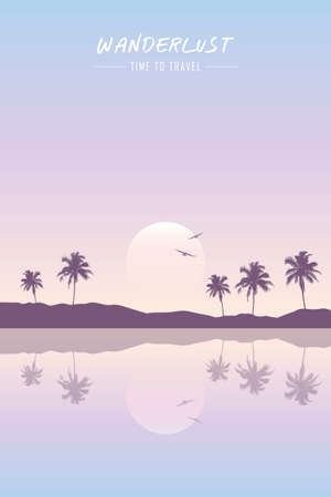 wanderlust paradise beach summer holiday background vector illustration EPS10