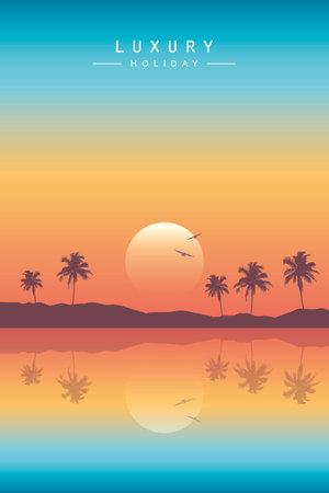 luxury summer holiday on paradise beach at sunset vector illustration EPS10 스톡 콘텐츠 - 164660596