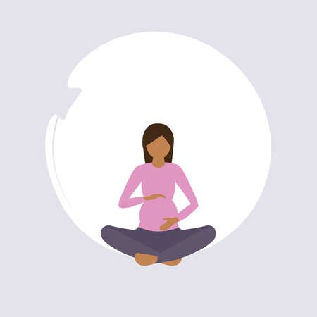 pregnant woman doing yoga exercise healthy lifestyle fitness design vector illustration