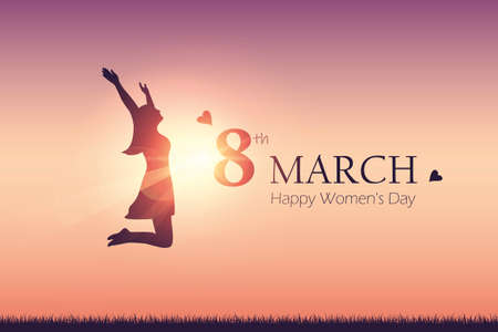 happy womens day 8th march girl with raised arms jumps at sunshine vector illustration