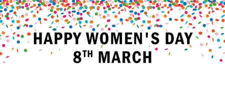 happy womens day banner with confetti rain on white background vector illustration