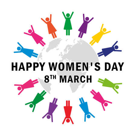 women in differnet colors around the world pictogram for womens day vector illustration