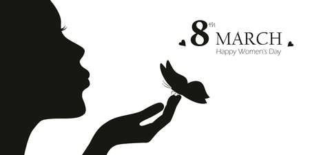 girl with butterfly womens day 8th march vector illustration EPS10 일러스트