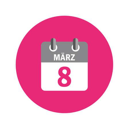 8th march international womens day in pink calendar vector illustration EPS10 일러스트