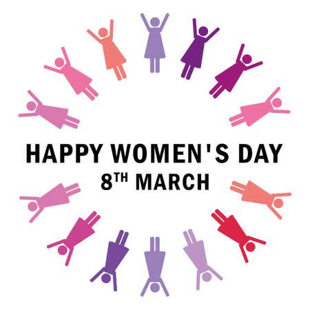 8th march international womens day women around the world pictogram vector illustration EPS10 일러스트