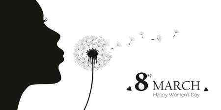 girl blows dandelion with heart silhouette womens day 8th march vector illustration 스톡 콘텐츠 - 165299301