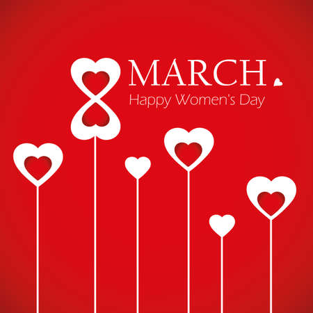 red and white hearts greeting card for womens day vector illustration EPS10 일러스트