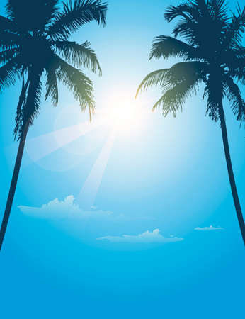 luxury holiday palm tree silhouette background vector illustration