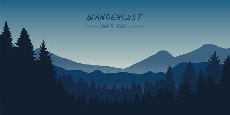 wanderlust wilderness blue mountain nature landscape vector illustration EPS10