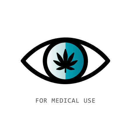 eye with cannabis leaf icon for medical use isolated on white background vector illustration EPS10