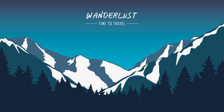 wanderlust snowy mountains and forest blue winter landscape vector illustration
