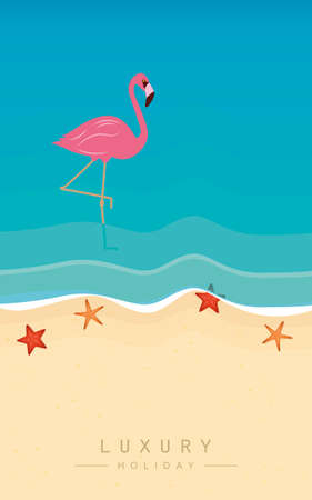 pink flamingo on the beach in turquoise water luxury holiday vector illustration EPS10 Ilustrace
