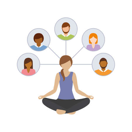 girl in yoga pose think about social network contacts vector illustration EPS10 Ilustrace