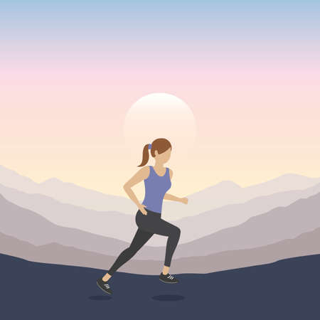 jogging sporty girl on mountain landscape at sunset