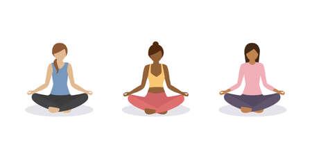 yoga girl meditation and healthy lifestyle set