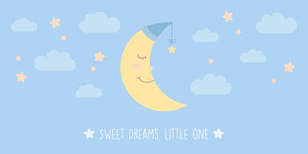 sweet dreams little one banner with cute moon