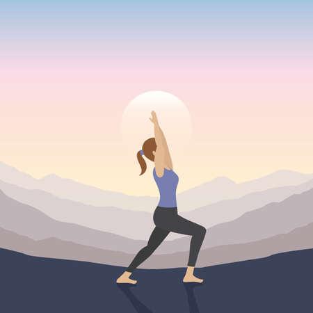 girl makes yoga on mountain landscape at sunset