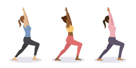 sporty girl does yoga workout healthy lifestyle set