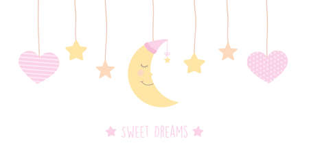 sweet dreams banner with cute moon stars and hearts Ilustrace