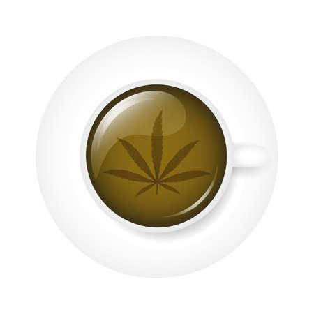 healthy green cannabis tea in a white cup