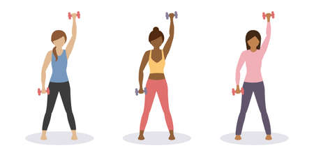 sporty girl does workout with dumbbells healthy lifestyle set
