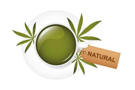 healthy natural green cannabis tea in a white cup