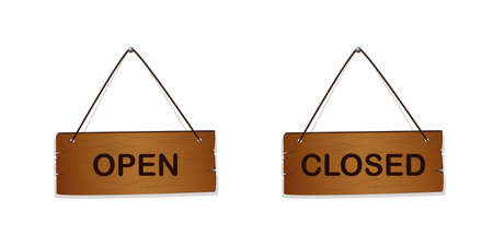 wooden sign with text open and closed Ilustrace