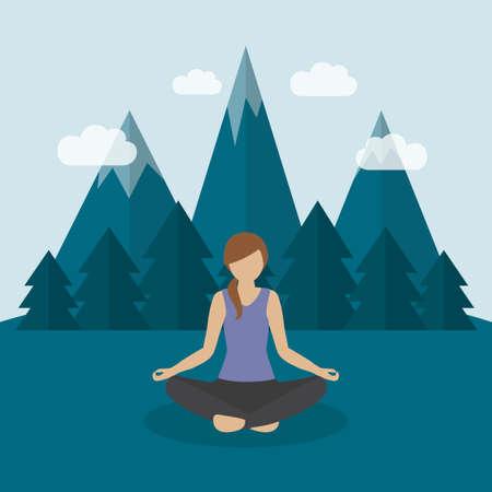 girl makes yoga on green mountain landscape